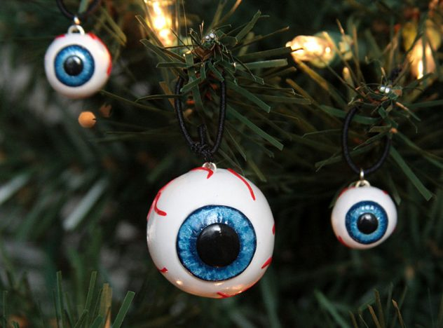 Eyeball Christamas ornaments on a Christmas tree