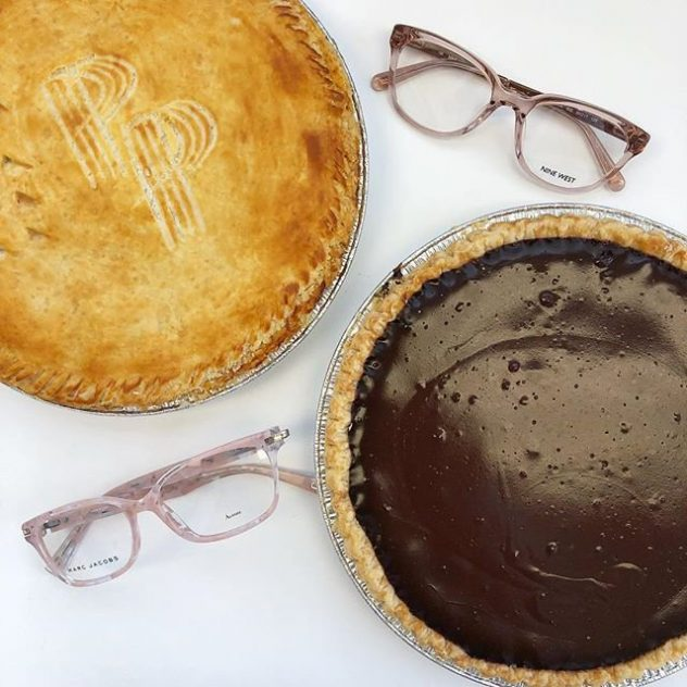 Marc Jacobs and Nine West eyeglasses and a chocolate pie