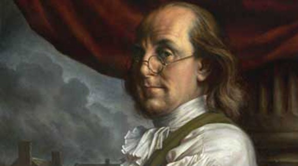 Benjamin Franklin wear bifocal eyeglasses