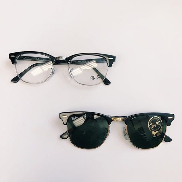 Ray Ban sunglasses and prescription eyewear.