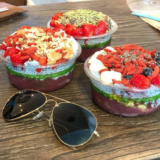 Ray Ban Sunglasses and bowls of acai